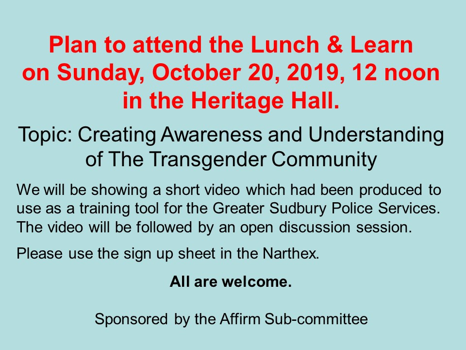 LunchLearn 20 Oct 2019